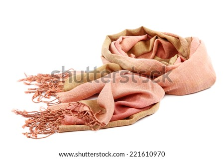 Pink scarf with tassels, isolated on white background. - stock photo