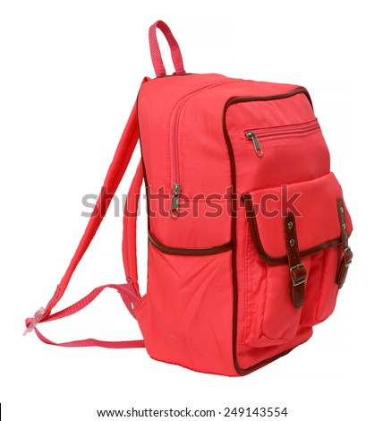 pink school backpack isolated on white background