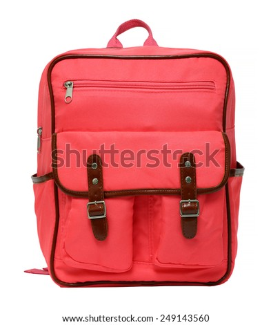pink school backpack isolated on white background - stock photo
