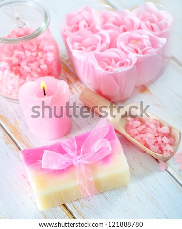 pink sea salt and soap