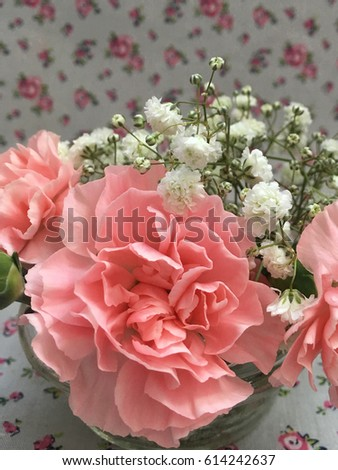 pink shabby carnations with gypsophila on flower background.
