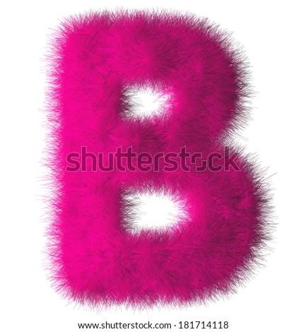 Pink shag B letter isolated on white background - stock photo