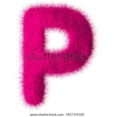 Pink shag P letter isolated on white background - stock photo