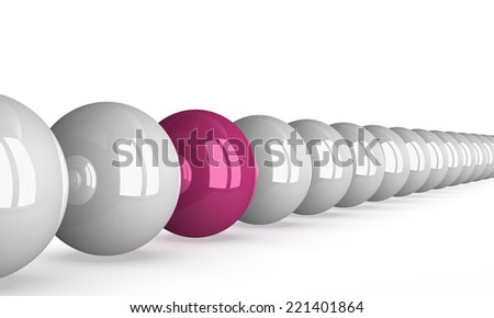 Pink shiny ball in row of white ones isolated on white, perspective view - stock photo