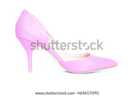 pink shoe on high heel isolated on white background