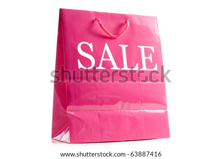 Pink shopping back front angled with a slight drop shadow. - stock photo