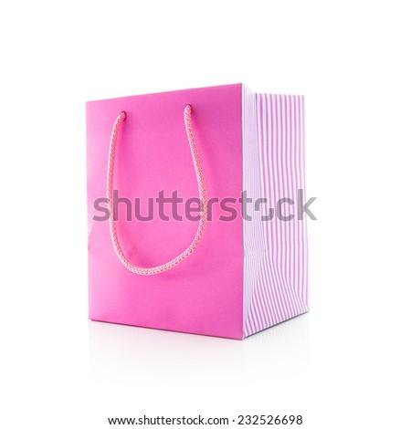 Pink shopping bag isolated on  white background - stock photo