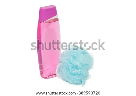 Pink shower gel with wisp isolated on white - stock photo