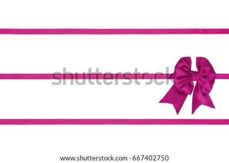 Pink silk bow with three horizontal ribbons on white background