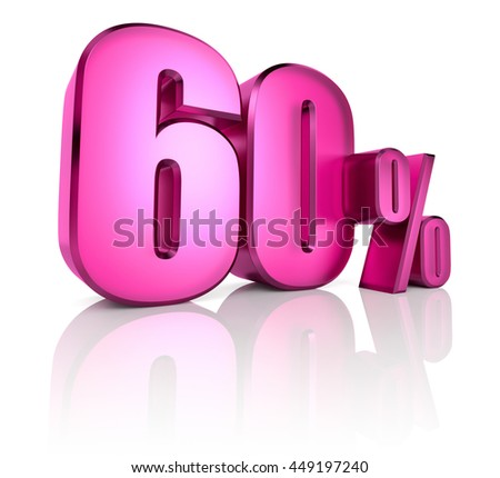 Pink sixty percent sign isolated on white background. 3d rendering - stock photo