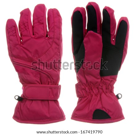 Pink ski gloves - stock photo
