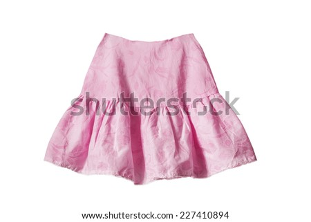 Pink skirt with frills isolated over white