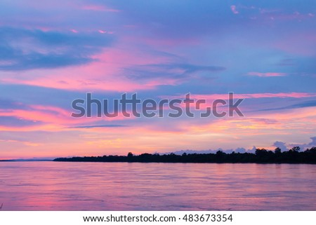Pink sky sunset with lake