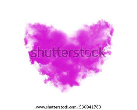 pink sky with hearts shape clouds. Valentine's holiday background