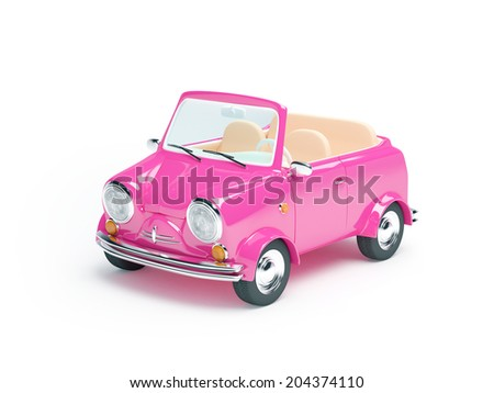 Pink small car cabriolet on white background - stock photo