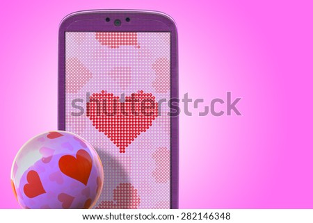Pink smartphone and hear shapes. Idea for Valentines Day messages, love, lovers, love apps, Internet, blogs and others. - stock photo