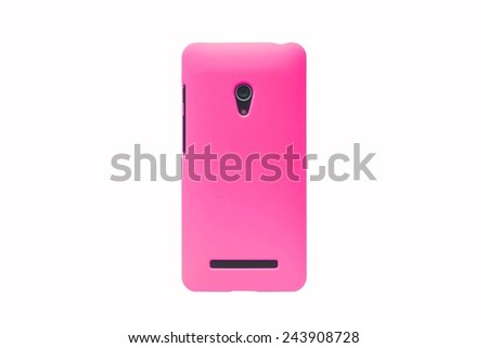 pink smartphone on isolated background                                      - stock photo