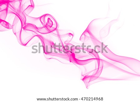 Pink smoke on white background, movement of pink smoke, abstract art