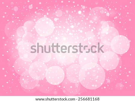 Pink snow bokeh background. Illustration format. - stock photo