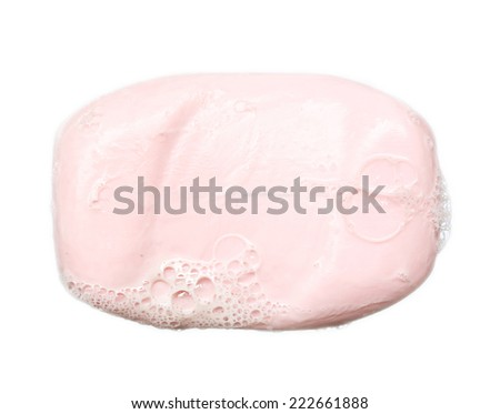 pink soap bubble of isolation on a white background - stock photo