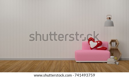 Pink Sofa In Simple Living Room Front Of White Wall Interior Design 3D Illustration Scandinavian
