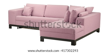 Pink sofa isolated on white. Include clipping path