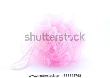 Pink sponge on a white background - stock photo