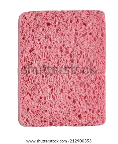 Pink sponge on white background