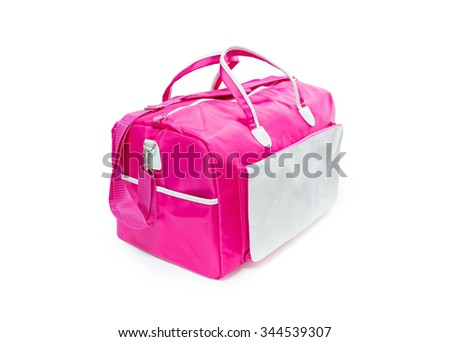 Pink sport handle bag on white background.