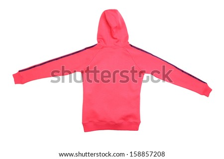 Pink sport jacket back view. Isolated on a white background