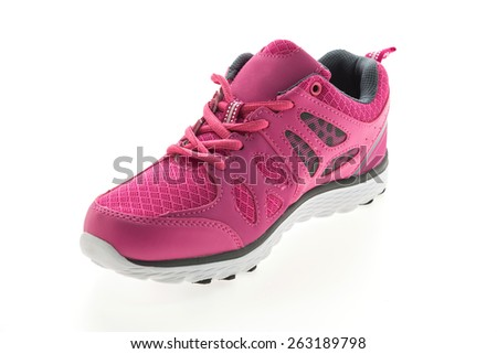 Pink Sport running shoes isolated on white background - stock photo