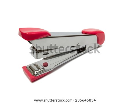 Pink stapler isolated on a white background - stock photo