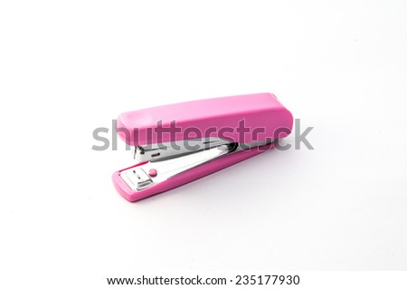 pink stapler with white background  - stock photo