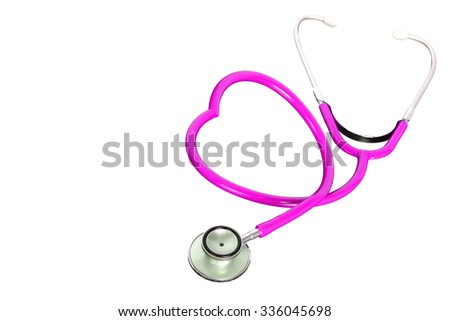 Pink stethoscope isolated on white background. This has clipping path.