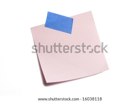 Pink sticky note isolated on white
