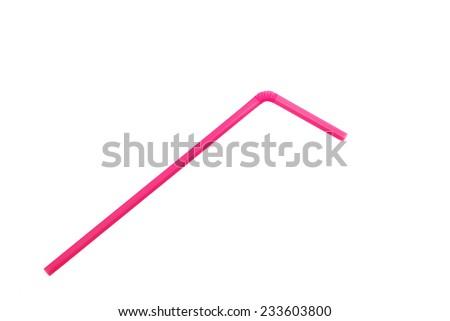 Pink straw on white background - stock photo