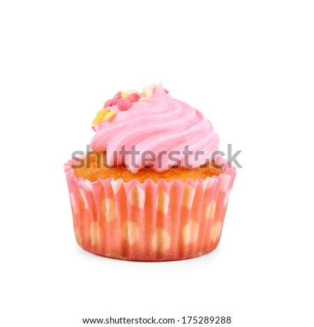 Pink strawberry cup cakes with deco balls, isolated