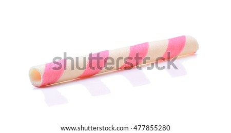 pink stripe wafer rolls on white Background