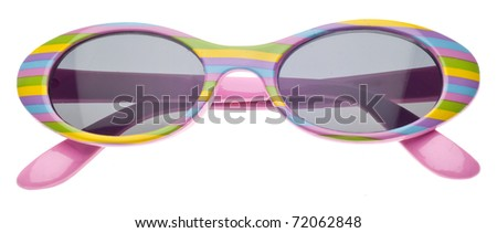 Pink striped Summer Child Size Sunglasses Isolated on White with a Clipping Path. - stock photo