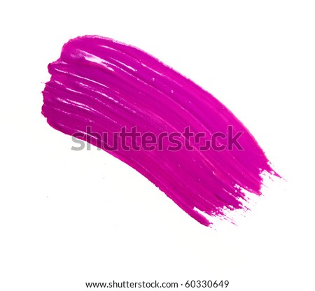 pink stroke of the paint brush isolated on white - stock photo