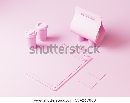 Pink style coffee set. Branding elements for shop or restaurant - stock photo