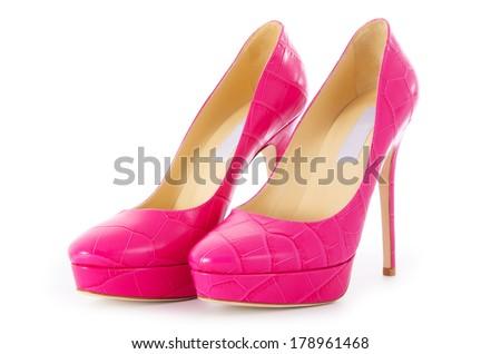 Pink stylish shoes isolated on white - stock photo
