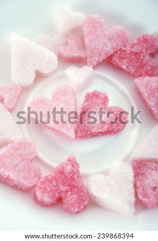 Pink sugar hearts for valentine's day/Romantic treats.