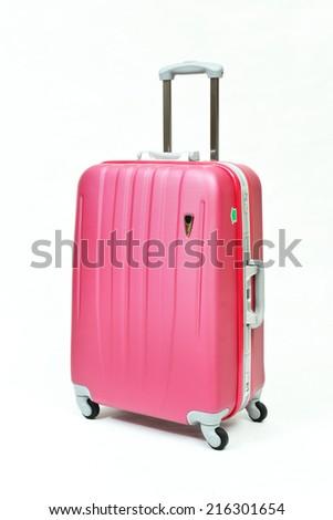 pink suitcase isolated on white background  - stock photo
