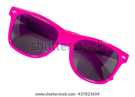 Pink sun glasses isolated over the white background - stock photo