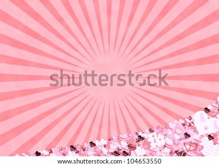 Pink sun rays and hearts for a retro abstract background - stock photo