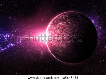 Pink Sunrise over Lone Planet - Elements of This Image Furnished By NASA  - stock photo