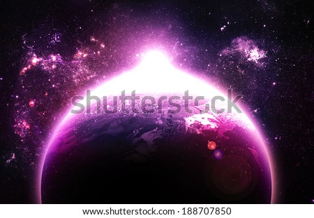 Pink Sunrise Over Planet - Elements of this Image Furnished By NASA - stock photo