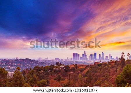 Pink sunset over Los Angeles, California