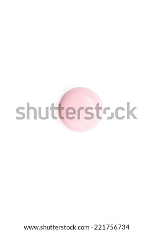Pink supplement, isolated on white. Healthcare concept. - stock photo